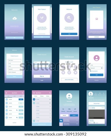 Mobile Screens User Interface Kit. Modern user interface UX, UI screen template for mobile smart phone or responsive web site. Welcome, onboarding, login, sign-up and home page layout.