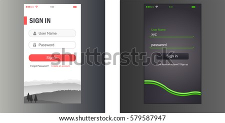 Mobile Screens User Interface Kit. Modern user interface UX, UI screen template for mobile smart phone or responsive web site. Welcome, on boarding, login, sign-up and home page layout. Vector.