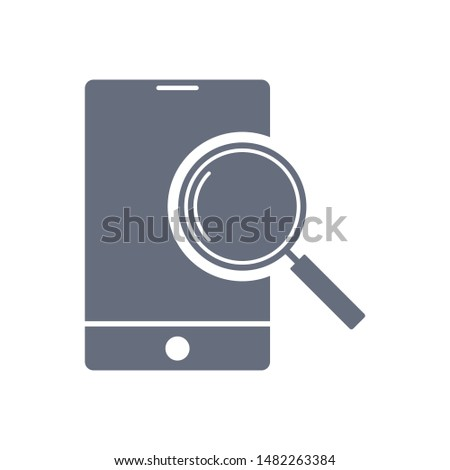 Mobile search icon vector. Magnifying glass or search icon. Search icon vector.