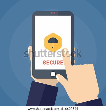 Mobile security app on smartphone screen. Flat design vector illustration