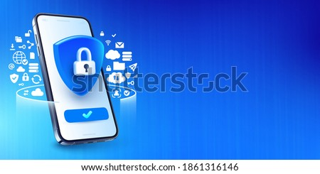Mobile security concept. Secure internet connection, smart phone privacy and VPN connect protection vector illustration