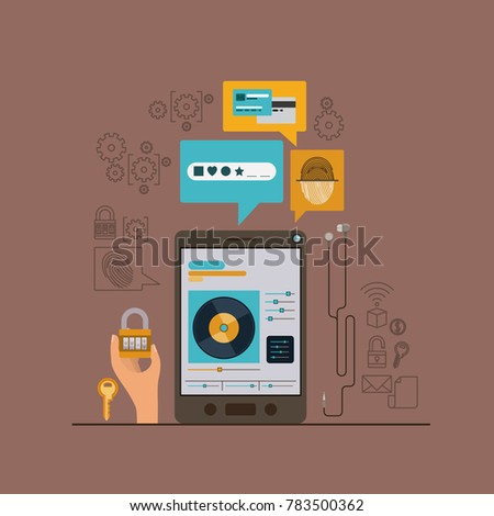 mobile security with tablet device and secure apps in brown color background