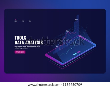Mobile service data analysis and information statistic, financial report, online bank icon isometric vector illustration dark neon ultraviolet