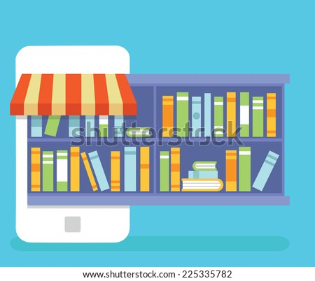 Mobile Service - library of books for read. Online Bookstore - business model - vector illustration