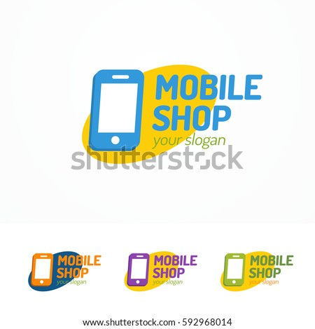 Mobile shop logo set with silhouette phone on ellipse can used for mobile service, smartphone store, fix and repair. Perfect for your business design. Vector Illustration