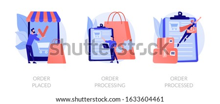 Mobile shopping app, modern online technology, internet customer service icons set. Order placed, order processing, order processed metaphors. Vector isolated concept metaphor illustrations