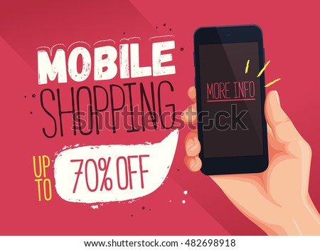 Mobile Shopping banner template. Sale and discounts. Up to 70% off Vector illustration. Promotion template design for print or web, media, poster material.