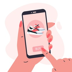 Mobile shopping consept.Woman holding a phone in her hands and shopping in the online store,buys a sneakers.Shopping on social networks through phone flat style.Online shopping vector illustration.