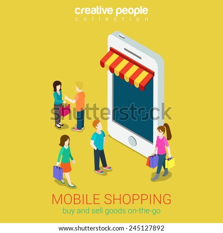 Mobile shopping e-commerce online store flat 3d web isometric infographic concept vector and electronic business, black friday sales. People walk on street between stores boutiques like phones tablets