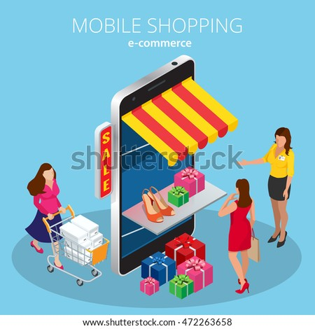 Mobile shopping e-commerce online store. Safety payment, worldwide delivery. Isometric concept vector sales, black Friday, consumerism.