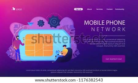 Mobile sim phone card and users with smartphones. Mobile phone network, smartphone plastic card and microchip, wireless cellphone communication concept, violet palette. Website landing web page