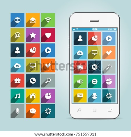Mobile smart phone with apps icons on soft background