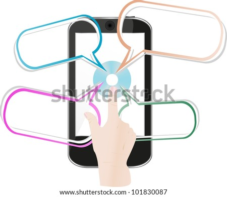 mobile smart phone with dialog text messages, vector