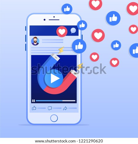 Mobile smart phone with magnet attracting hearts and likes. Social media marketing concept. Simple flat design. Vector illustration. Ideal for your social media post.