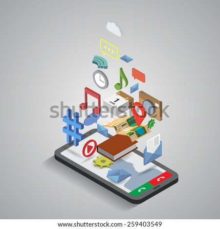 Mobile smartphone services and applications. Isometric illustration