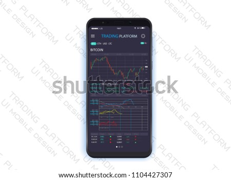 mobile stock trading concept, online trading, stock market analysis, business and investment, forex exchange.Trading platform