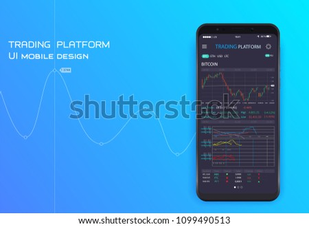 Mobile stock trading concept. UI UX design app cryptocurrency wallet. Modern user interface screen template for mobile smart phone
