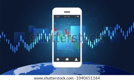 Mobile stock trading concept with candlestick and financial graph charts on screen, Global network connection and wireless technology allows investors to access trading platforms from their telephone.