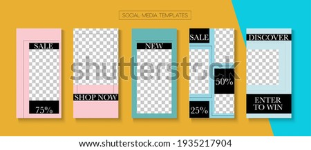 Mobile Stories Vector Collection. Online Shop Rich VIP Invitation Advert. Blogger Hipster Covers, Social Media Kit Template. Simple Sale, New Arrivals Story Layout. Social Media Stories Collection Stok fotoğraf ©