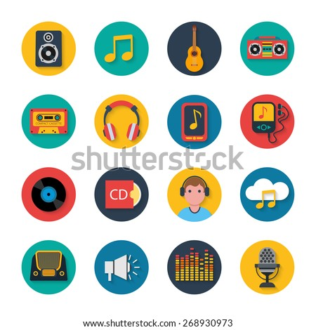 Mobile tablet music navigation symbols collection with player and headphones flat round icons abstract isolated vector illustration