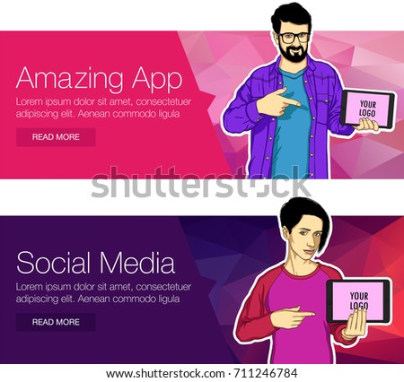 Mobile tablet screen with app for the banner. Vector mobile screen in showing hand of character. Young handsome character showing at the mobile tablet in banner