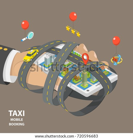 Mobile taxi booking flat isometric low poly vector concept. Hand is holding a smartphone with a city on it. The smartphone is surrounded by the highways. A yellow taxi is moving by one of the roads.