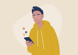 Mobile technologies, young male character scrolling social media newsfeed on their smartphone, generation z lifestyle
