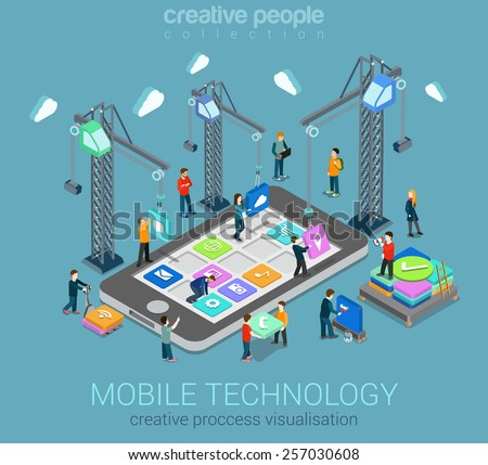 Mobile technology operating system creative process visualization flat 3d web isometric infographic concept vector template. Cranes placing building blocks mobile app icons to smartphone.