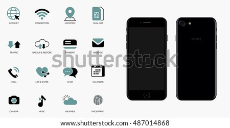 Mobile technology vector icons set. Smartphone iphon style front and back view illustration.
