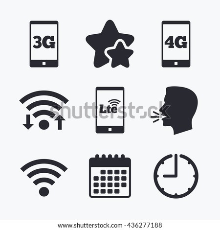 Mobile telecommunications icons. 3G, 4G and LTE technology symbols. Wi-fi Wireless and Long-Term evolution signs. Wifi internet, favorite stars, calendar and clock. Talking head. Vector