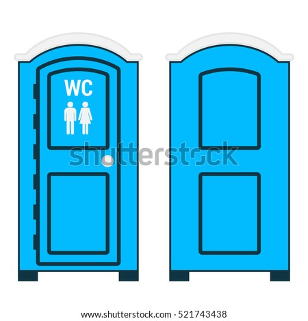 Mobile toilet isolated on white. Vector illustration. Front and back views. Blue plastic outside water closet with WC sign, man and woman on the door.