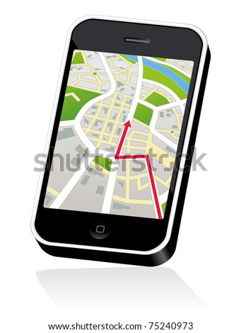 Mobile Touch Phone with Global Positioning System street Map