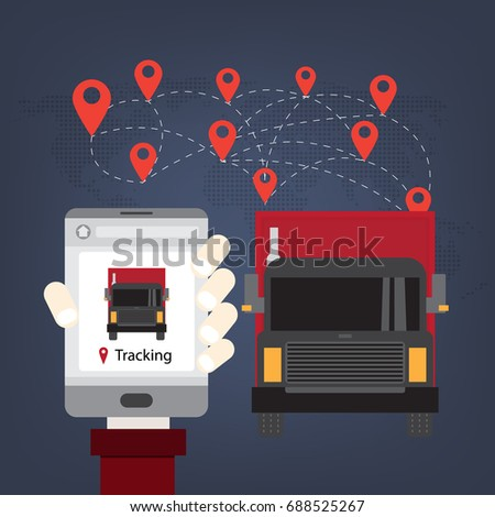 Mobile Tracking Truck ,Logistics and transportation of Container Cargo ship and Cargo plane  in shipyard logistic import export and transport industry on world map background