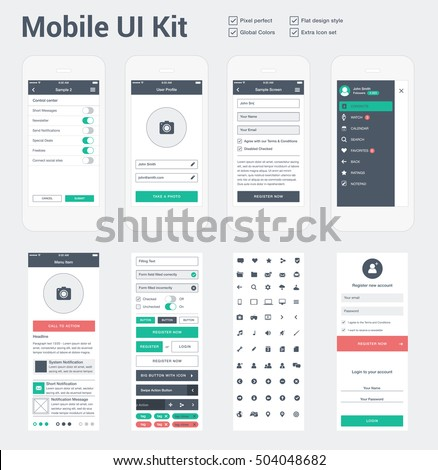 Mobile UI kit for app development, phone mockups & wireframes.
