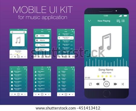 Mobile UI kit for music application. Vector. EPS10
