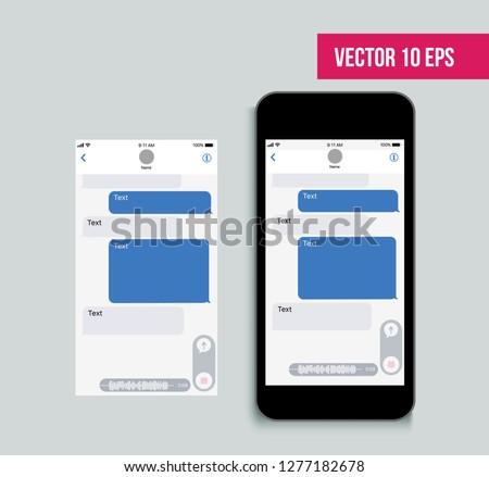 Mobile ui kit messenger. Chat app template. Social network concept. Vector illustration. Mock up