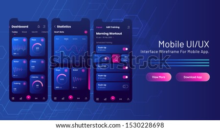 Mobile UI/UX web banner design with analysis mobile app screen on blue circuit background.