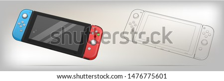 Mobile video console vector illustration. Video game console portable. Creative switch console. Nintendo video game.