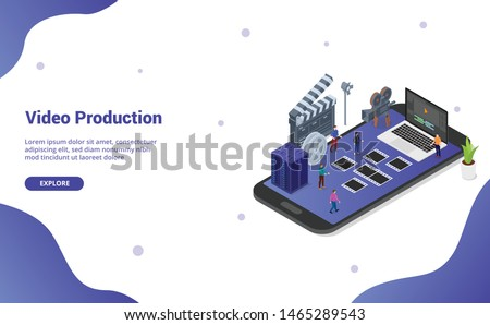 mobile video editing and production on the smartphone with various set of movies productions with modern isometric flat style for website template landing homepage - vector