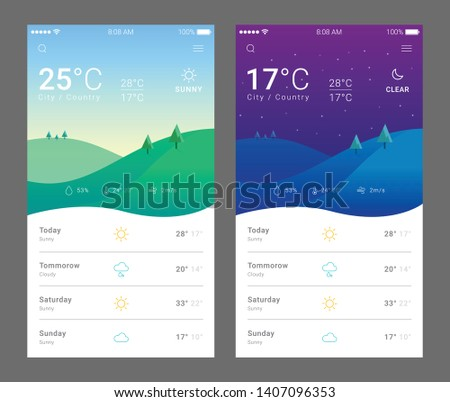 Mobile Weather Application UI - Vector