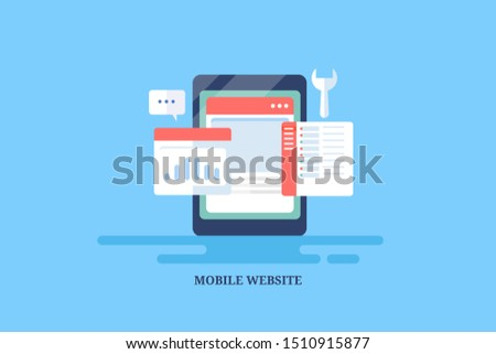 Mobile website development, Website technology,  Website for smartphone - flat design conceptual vector illustration