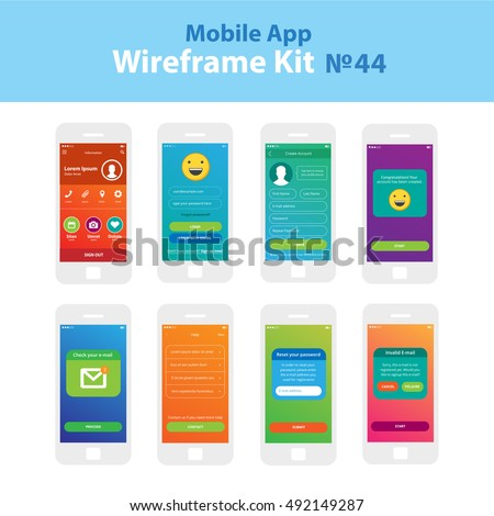 Mobile WIreframe App UI Kit 30 … Stock Photo 328881392 - Avopix com