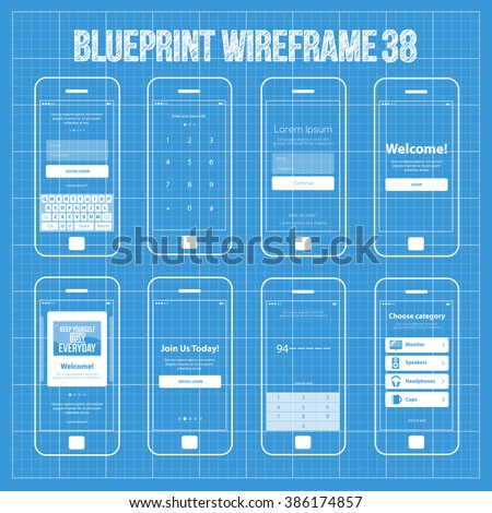 Royalty free mobile wireframe app ui kit 40 search 389503465 mobile wireframe app ui kit 38 authorize login screen join us screen enter malvernweather