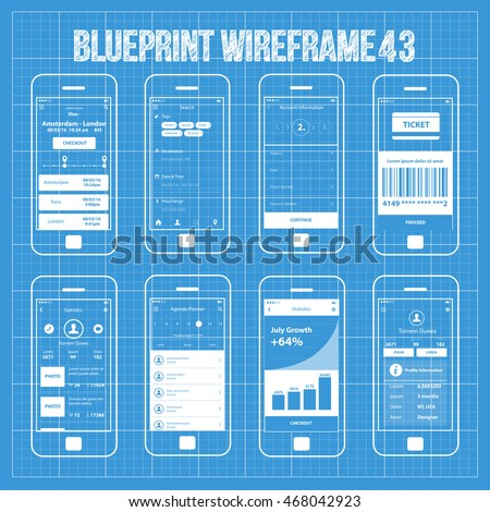 Royalty free mobile wireframe app ui kit 40 search 389503465 mobile wireframe app ui kit 43 travel planner ticket screen search screen account malvernweather Choice Image