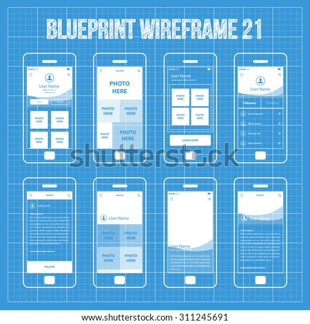 Royalty free blueprint mobile app wireframe ui kit 7 224336317 mobile wireframe app ui kit 21 user profile main screen user gallery screen malvernweather Gallery