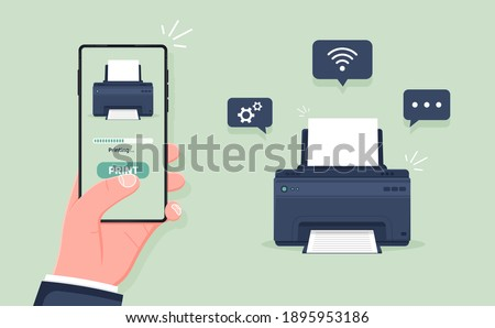 Mobile wireless print. Printer wirelessly printing document from smartphone. Air print on fax or ink jet using wifi, bluetooth, connection. Flat cartoon vector illustration