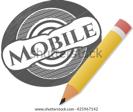 Mobile with pencil strokes