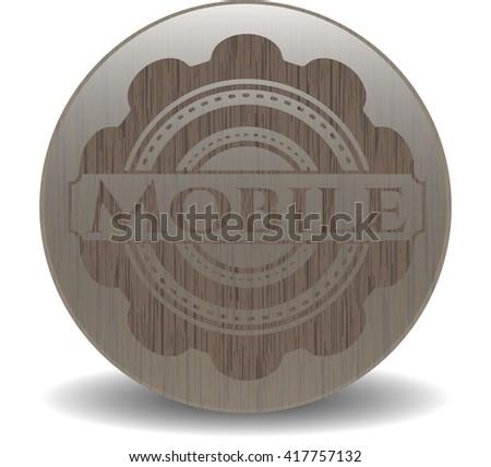 Mobile wooden emblem. Vintage.