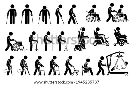 Mobility aids medical tools and equipment stick figure pictogram icons. Artwork signs symbols depicts man walking with crutches, wheelchair, cane, electric wheelchair, power scooter, and walker. Stock photo ©