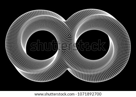 Mobius strip ring infinity sacred geometry. Spatial figure with upturned surfaces. Optical illusion with dual circular contour. Wireframe low poly mesh vector illustration.